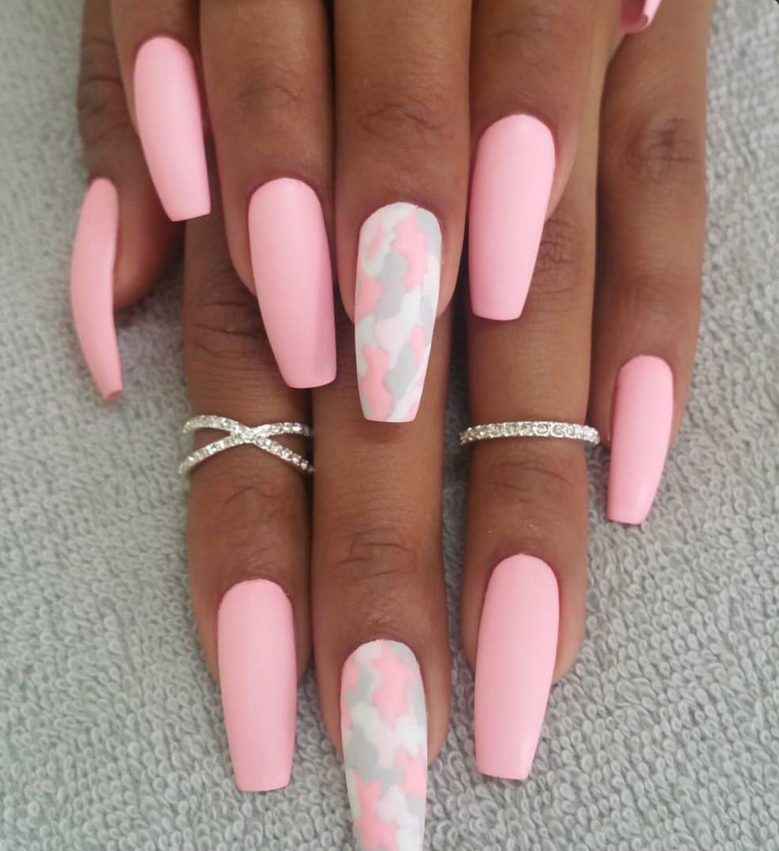Pink And Camo Coffin Nails Nails Pinterest Coffin Nails Pink