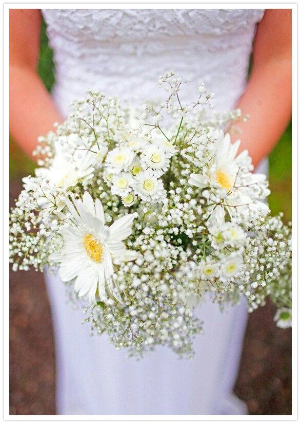 Sweet Bridal Bouquet Comprised Of White Gerbera Daisies, Daisies, & Gypsophila (Baby's Breath).....