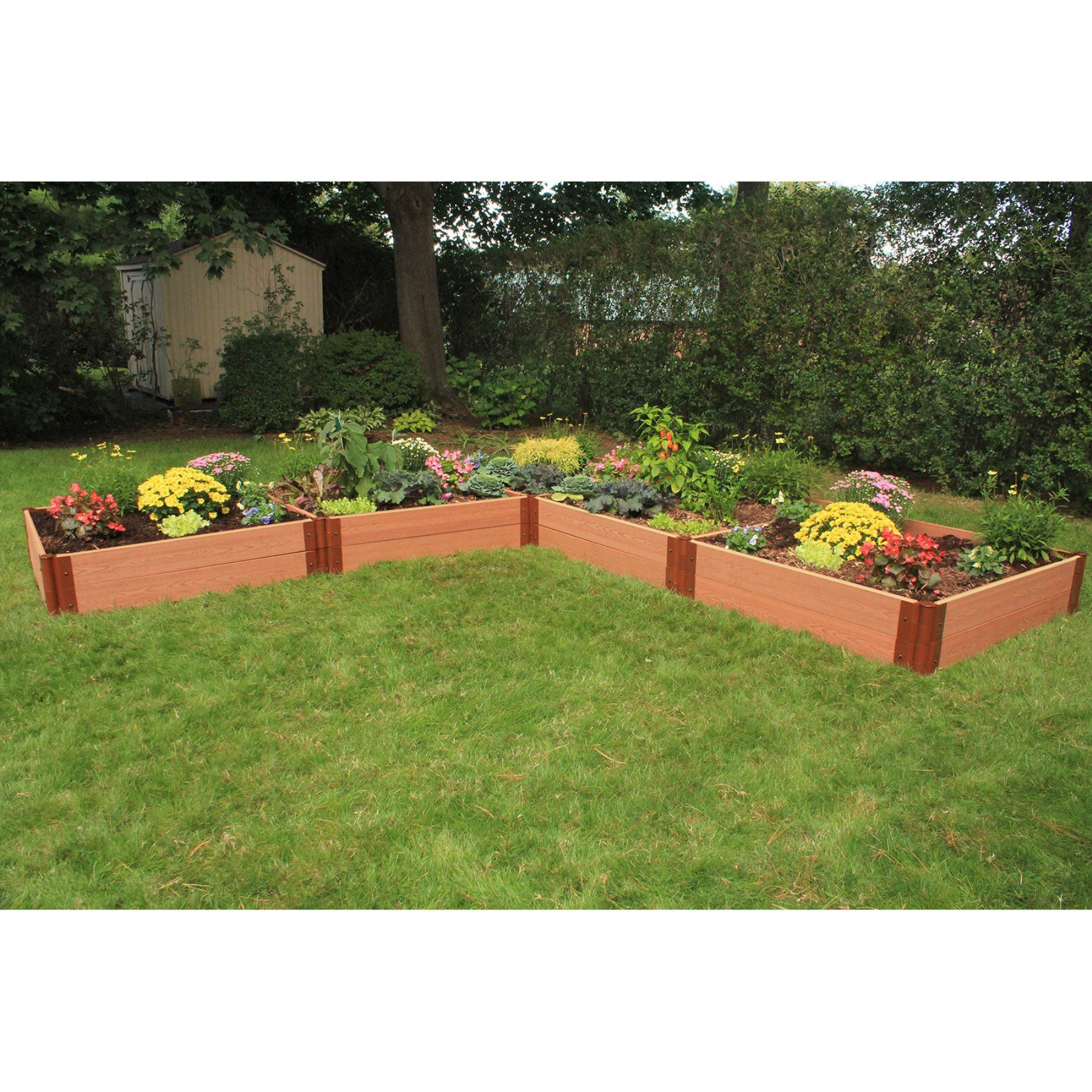 Frame It All 1 Inch Series Composite L Shaped Raised Garden Bed