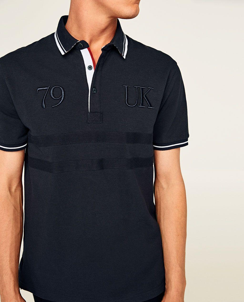 Polo Shirt With Embroidered Countries Polos Man Zara United States Polo Shirt Polo Boys Tracksuits