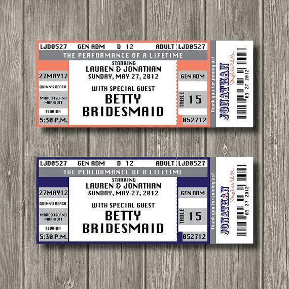 Concert Ticket Escort Card Concert Ticket Place Card 175 per - concert ticket layout