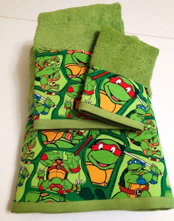 Charming Teenage Mutant Ninja Turtles Themed Towel Set By MyTimeCreations