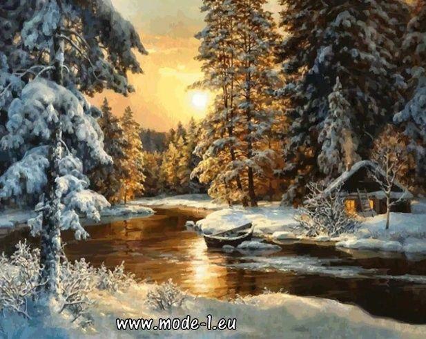 Malen Nach Zahlen Bild Acryl Leinwand Hobby Malerei Winterlandschaft mit Ramen