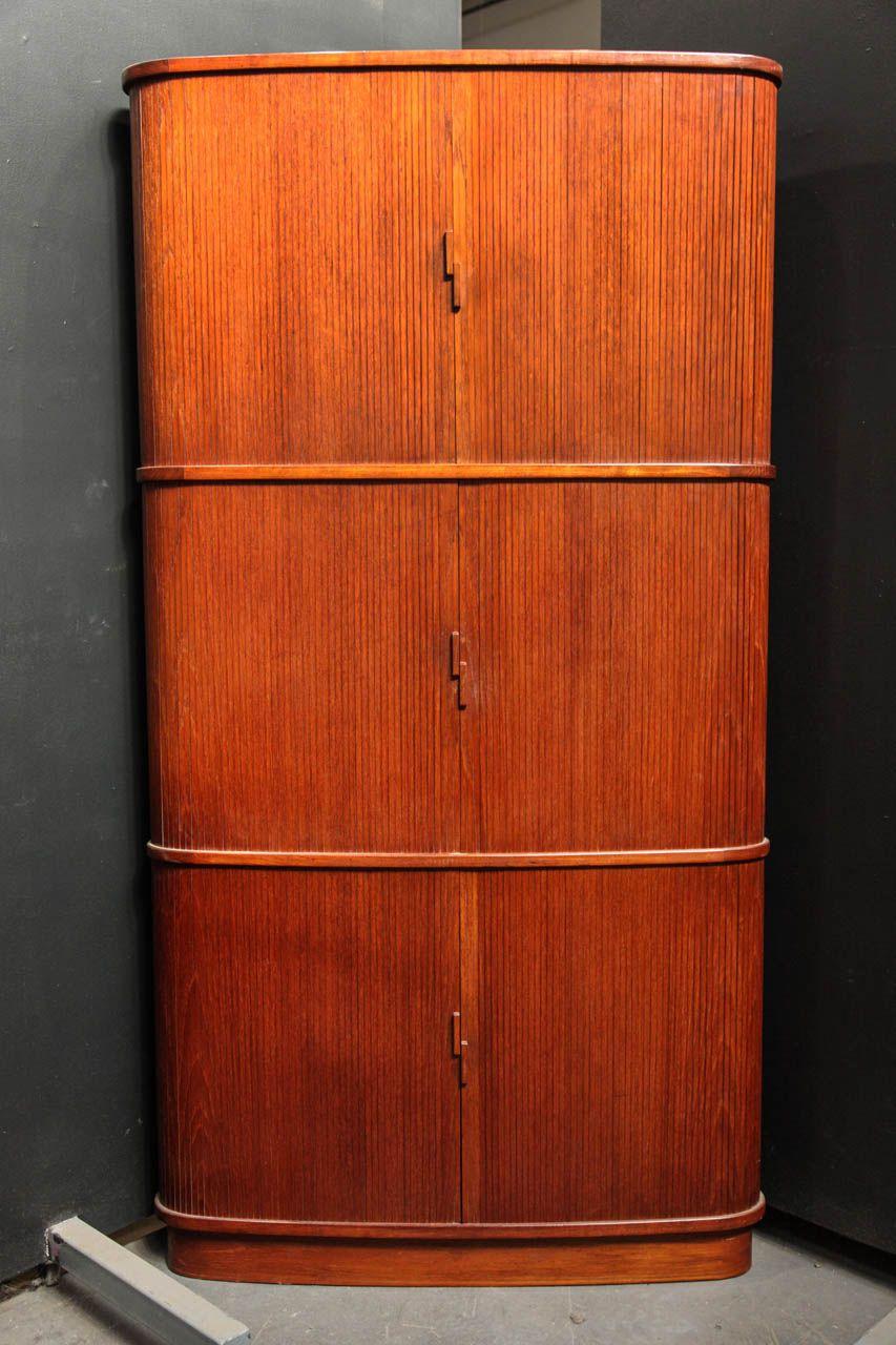 3 Tiered Teak Tambour Door Corner Cabinet 1stdibs Com Corner