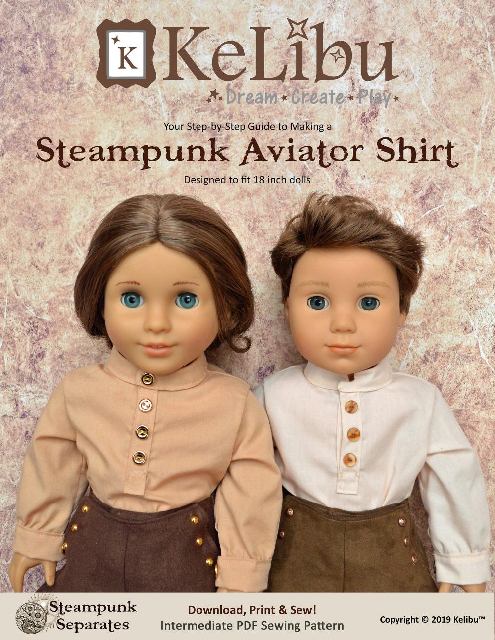 Steampunk Aviator Shirt for 18 inch dolls