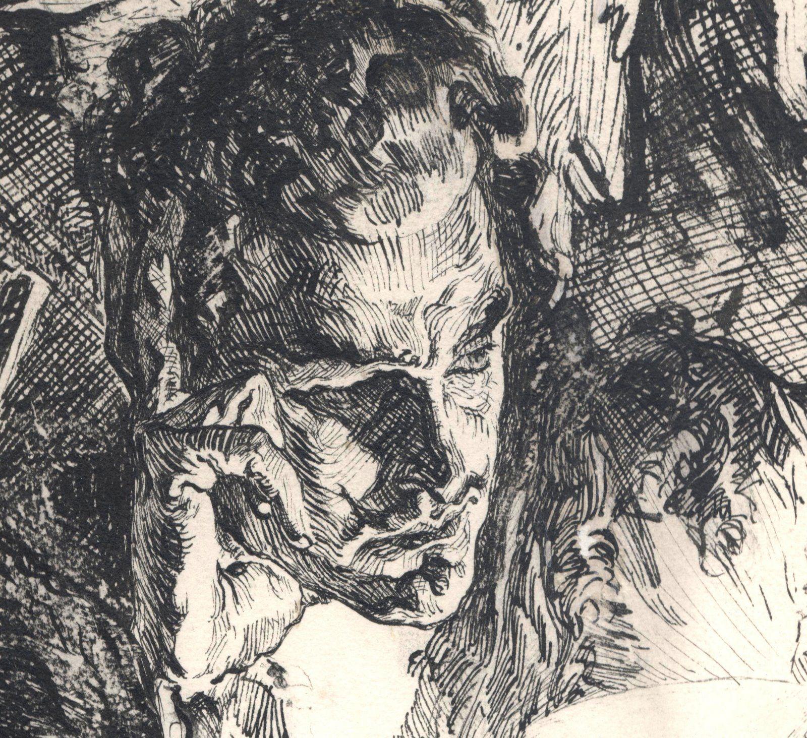 Ink Illustration: Joseph Clement Coll (close-up Of Pen Ink Illustration