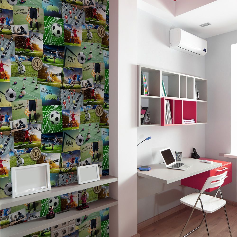 Fine Decor Novelty Football Soccer Collage Kids Boys Wallpaper 10m FD41915