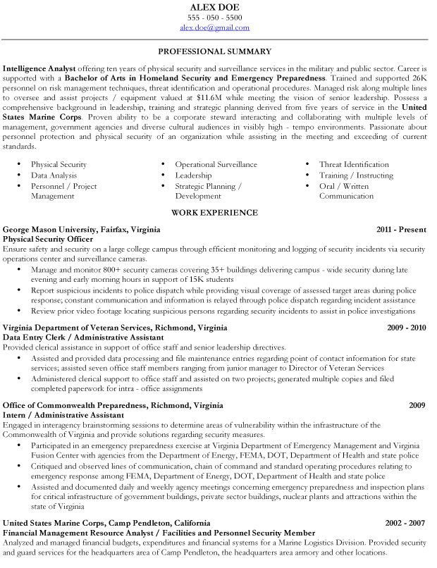 Resume Examples Veterans Resume examples, Resume writing