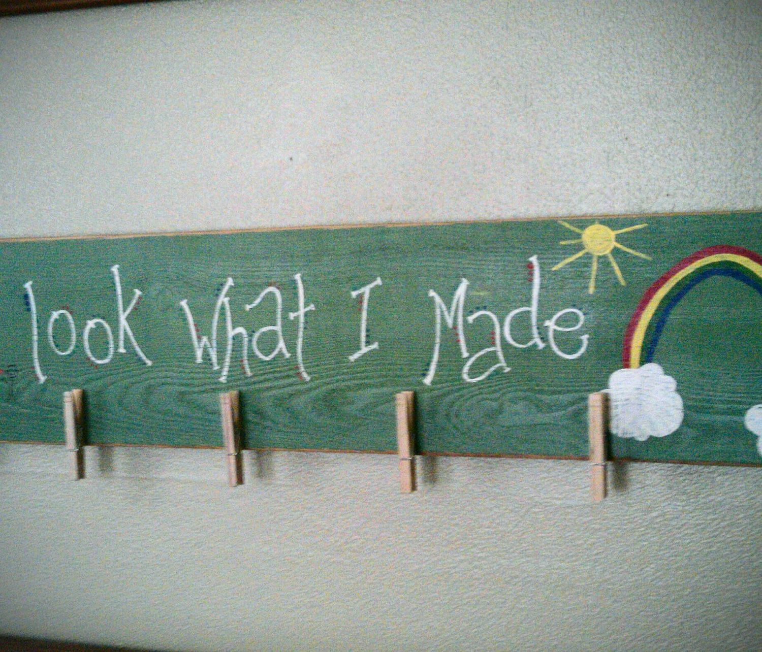 Look What I Made Brag Board Kids Art Display Hand Painted Distressed