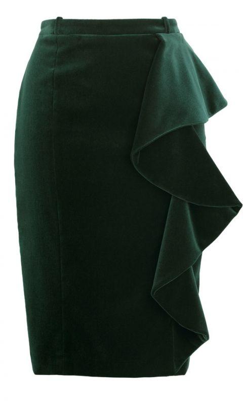 Marks And Spencer Dark Green Ruffle Pencil Skirt, £45