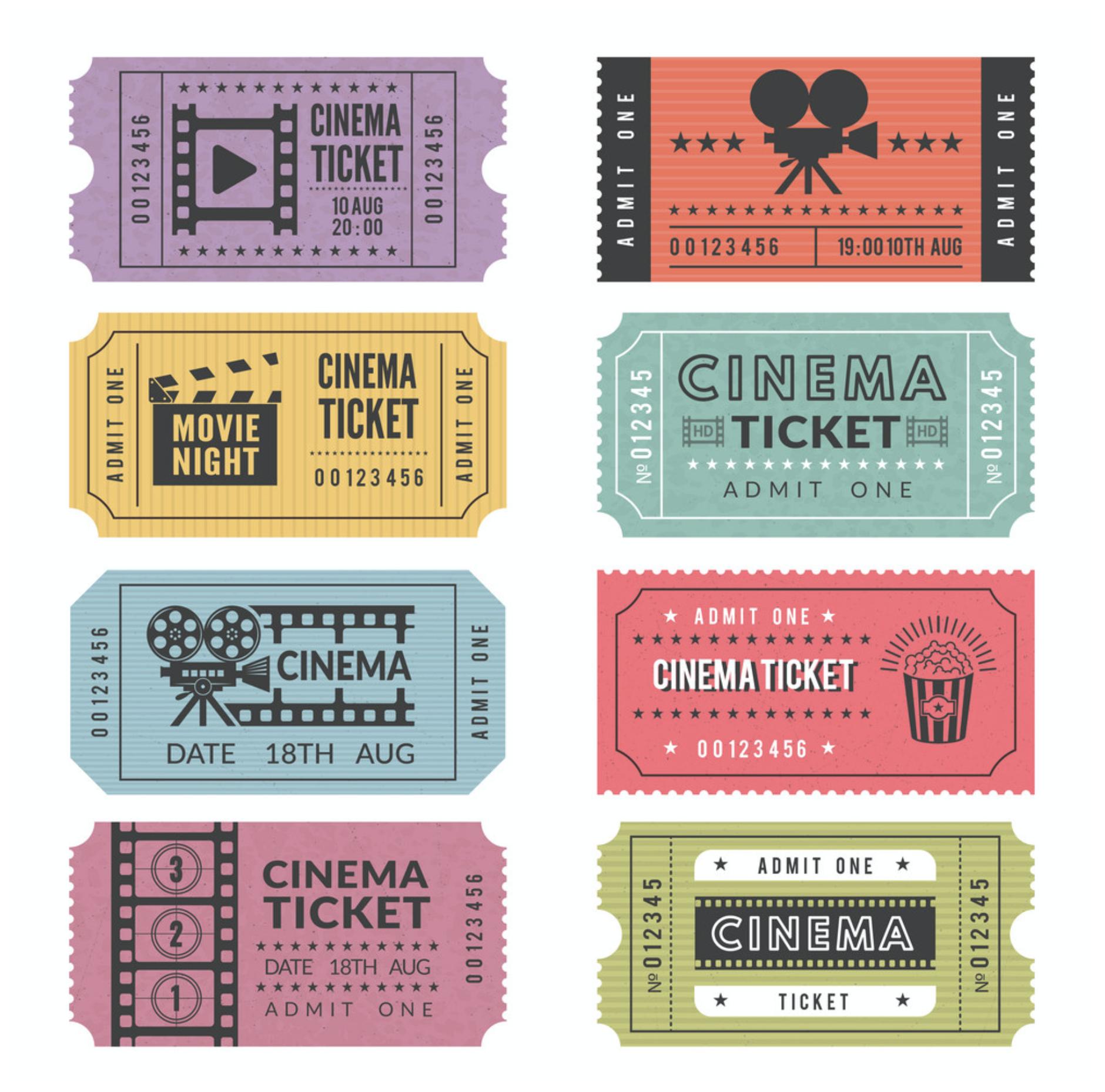 Movie Tickets Ticket Design Cinema Ticket Print Stickers