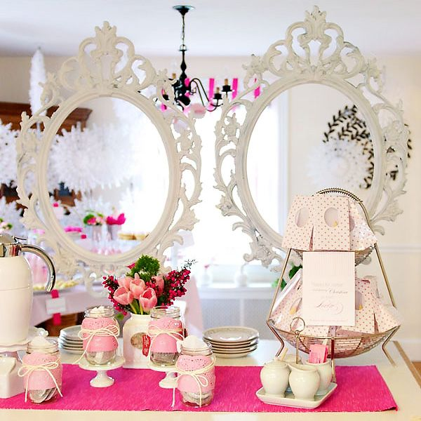 modern pink tea party baby shower