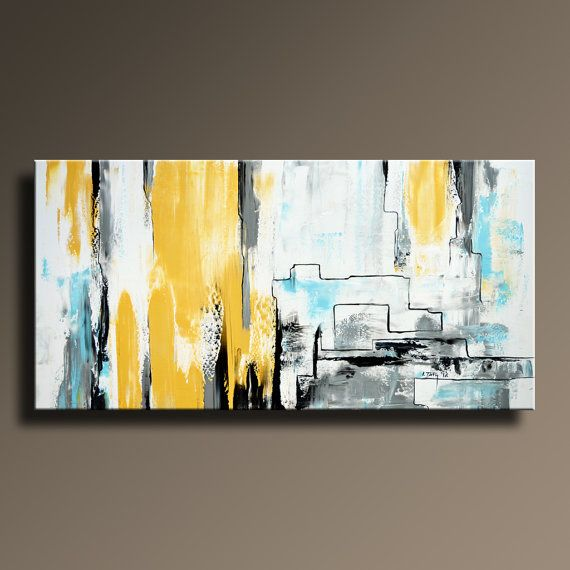 ABSTRACT PAINTING Yellow Gray White Black Blue Painting by itarts ...