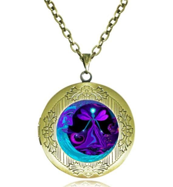 Moon and Fairy Locket Necklace