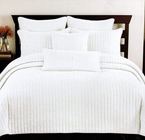 Lovely Cynthia Rowley Cottage Style 3pc. Double Cal.King Quilt Set Circle Stitch White  Quilted