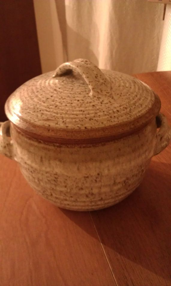 Vintage Stoneware Ceramic Vegetable Steamer Pot W Handles