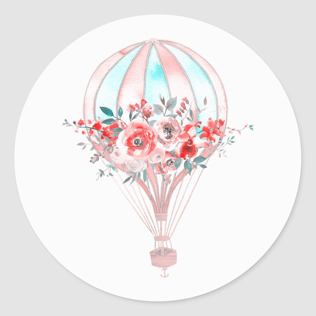 Floral Hot Air Balloon Easter Brunch Spring Party Classic Round Sticker | Zazzle.com