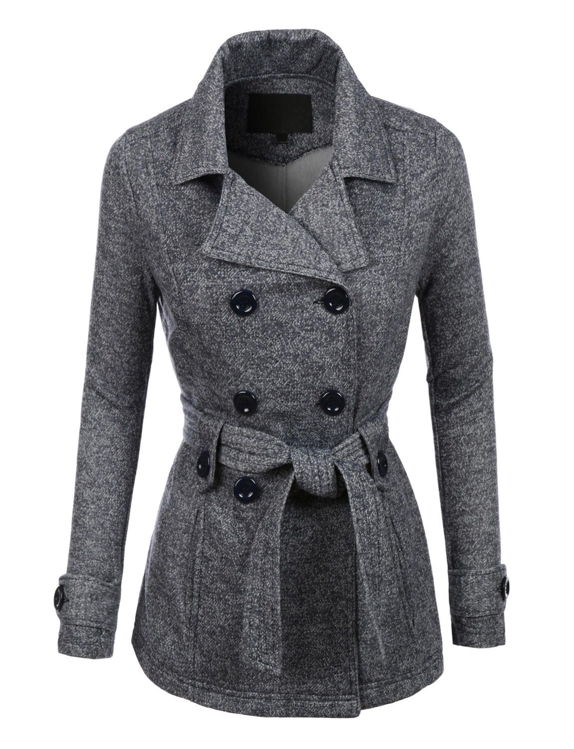 42e6cd3a57ce LE3NO Womens Double Breasted Fleece Pea Coat Jacket with Pockets from  LE3NO. Saved to Women s Outerwear.