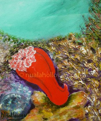"""Spanish Dancer"" by Nuala Holloway - Oil & Sand on Canvas (Part of Nuala's ""Coral Collection"" bringing attention to the beauty of this important and endangered Oceanic eco-system) www.nualaholloway.com #Coral #NualaHolloway #IrishArtist #Art"
