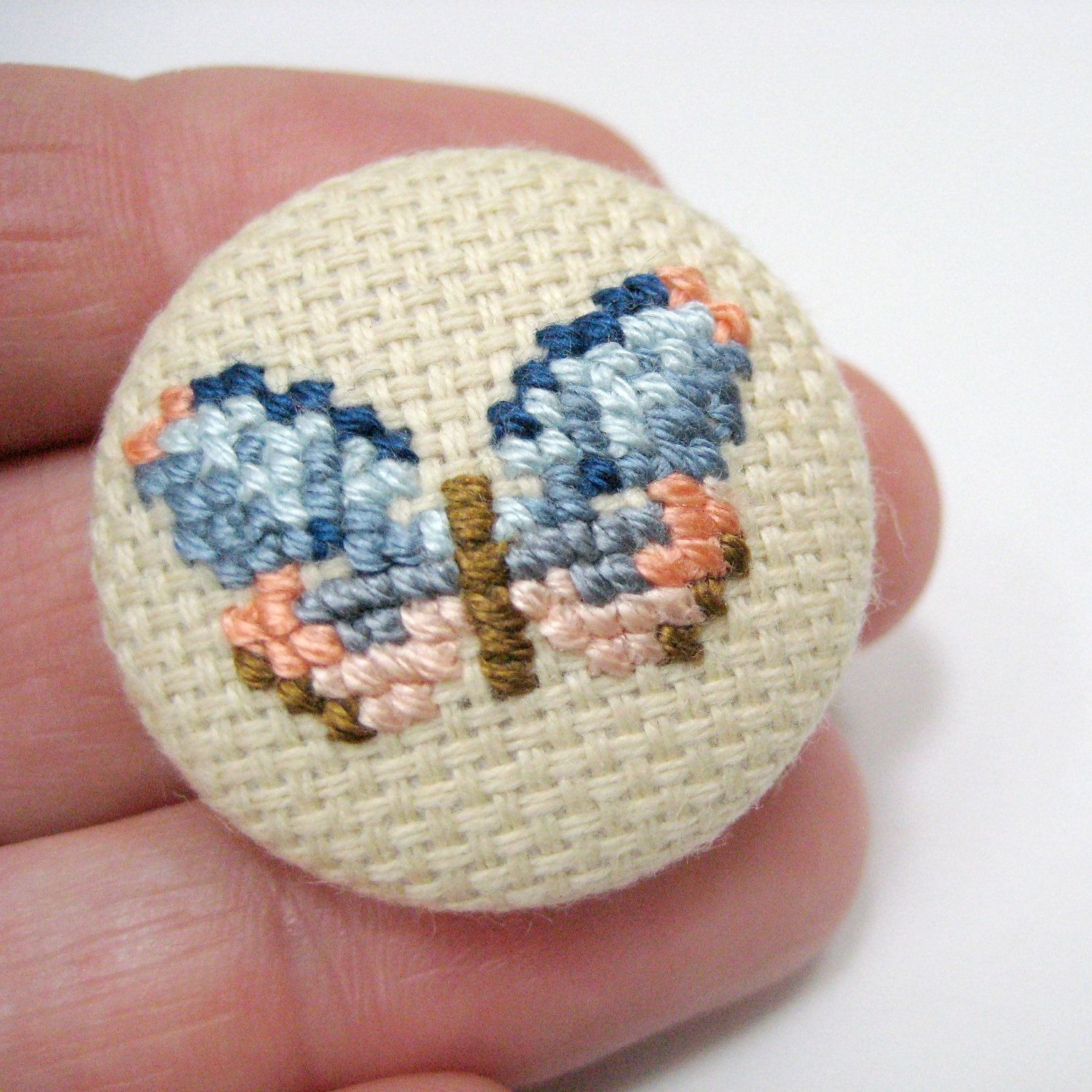 One of a kind cross stitch jewelry, Brooch, butterfly peach blue oatmeal, coat pin, unique gift for her. £8.00, via Etsy.