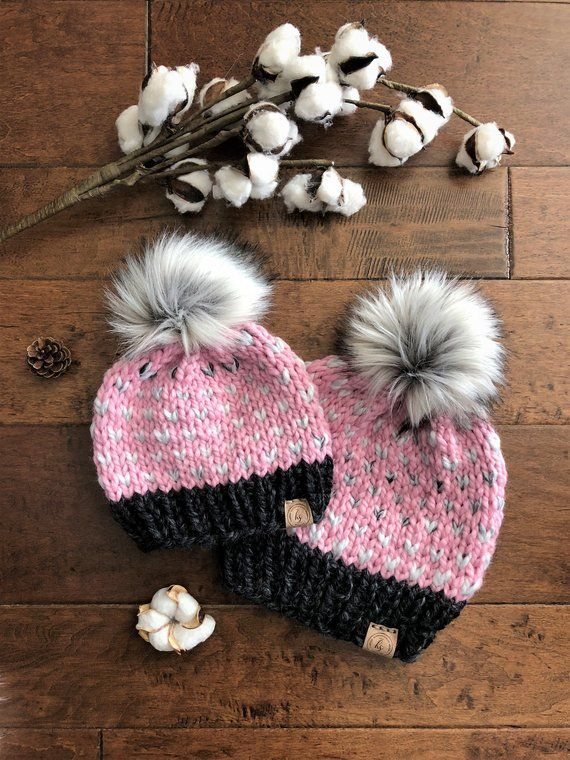 a0c290729 Mommy and Me Hats/Fur Pom-pom Hats/Knit Beanie/Mom and Baby Hats ...