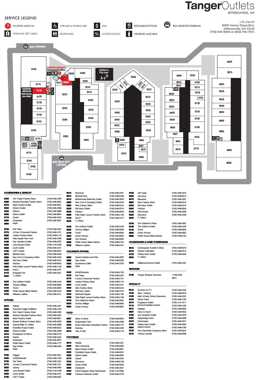 tanger outlets jeffersonville ohio map Tanger Outlets Jeffersonville Shopping Plan Outlets Ohio Mall