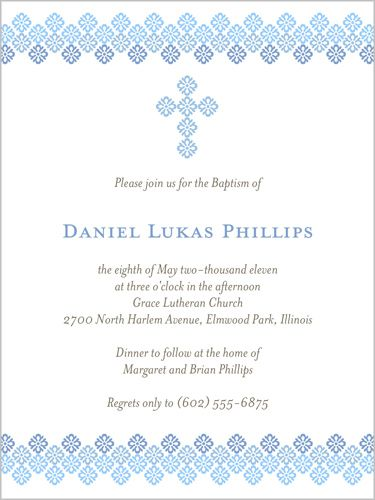 Filigree Cross Blue Baptism Invitation