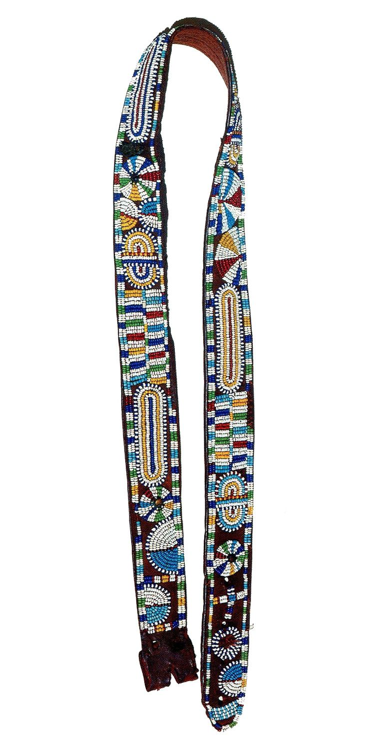 "Africa | Circumcised Kikuyu men in Kenya, wear this type of glass and leather beaded belt until they become elders. thereafter they only were them on special occasions.  The beadwork pattern on this belt,  made about 1969, is called 'Kenyatta'.  Collection; National Museums of Kenya, Nairobi. | Pg 133 ""The Worldwide History of Beads"" by Lois Sherr Dubin. 2009 edition."