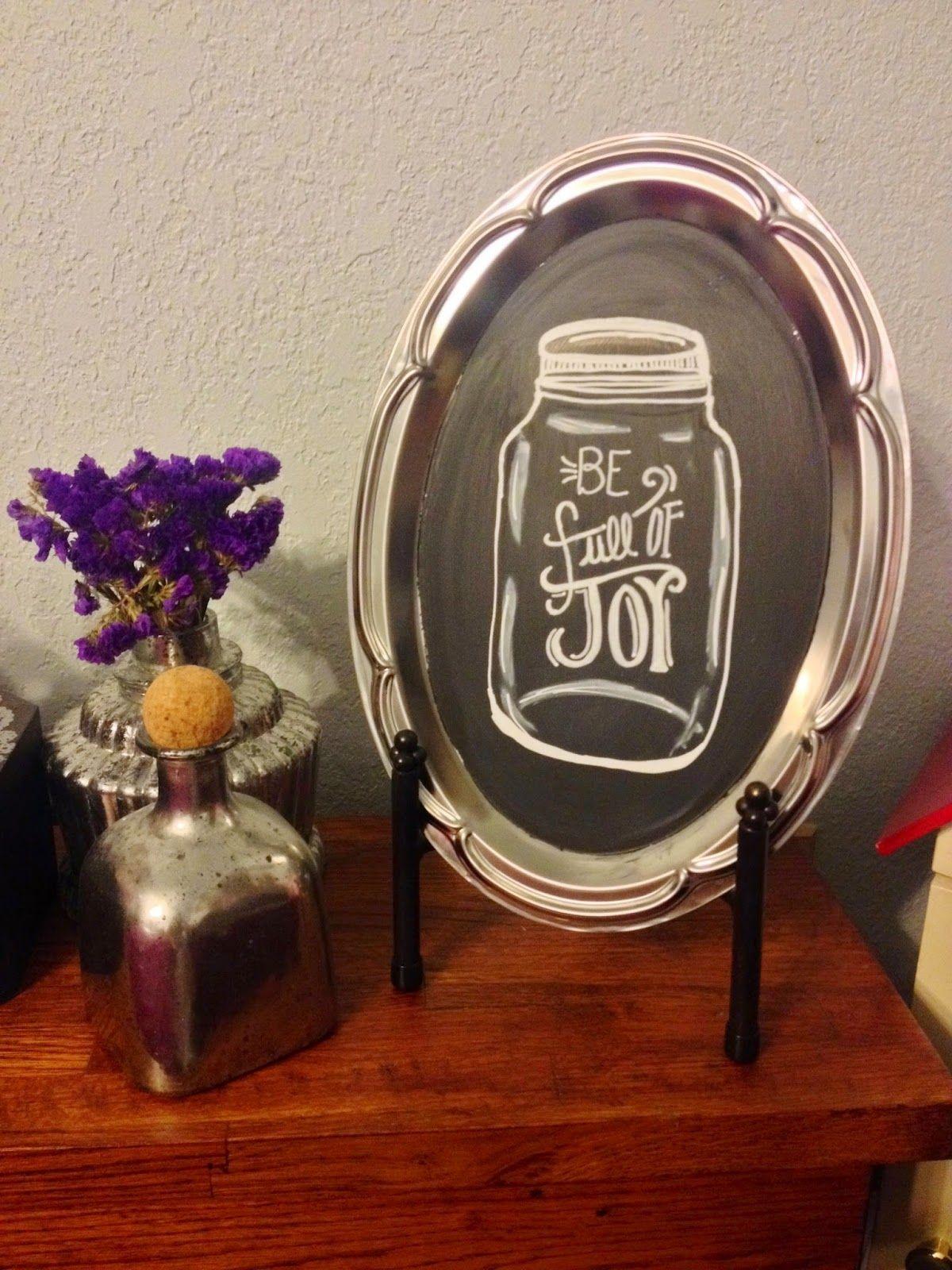chalkboard art mason jar on metal tray!  Licia Brooke Creations