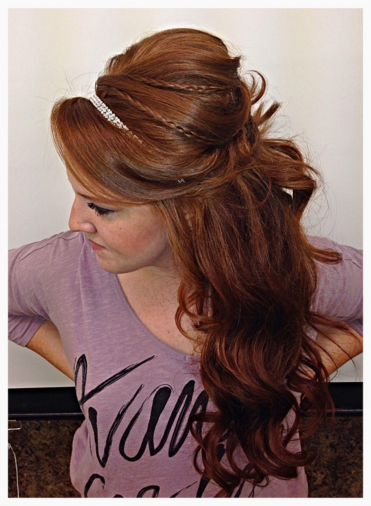 wedding hair braids half updo headband | hair and beauty in