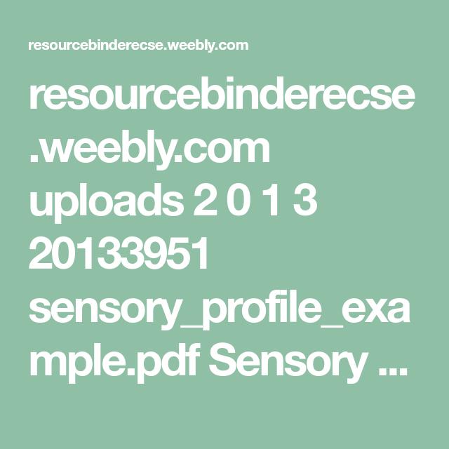 Sensory Profile Pdf