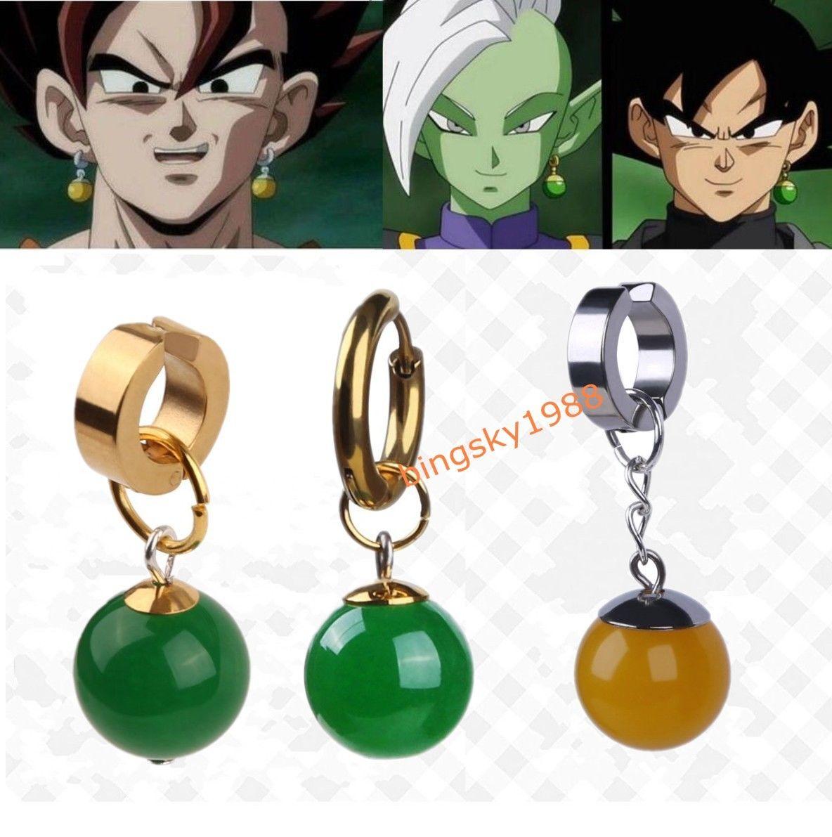 Anime Super Dragon Ball Z Black Son Goku Zamasu Vegetto Potara Earrings Ear Stud