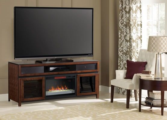 Gramercy TV Stand with a ClassicFlame Electric Fireplace with Built-In Bluetooth Speakers- Love this- and it would actually fit my TV!