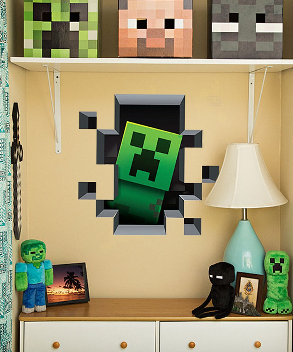 Minecraft wall boys bedroom stuff room decor heads also creature cling set valentines dormitorio rh ar pinterest