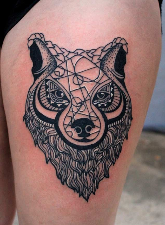 Geometric Wolf Sleeve: Geometric Wolf Tattoo, Animal
