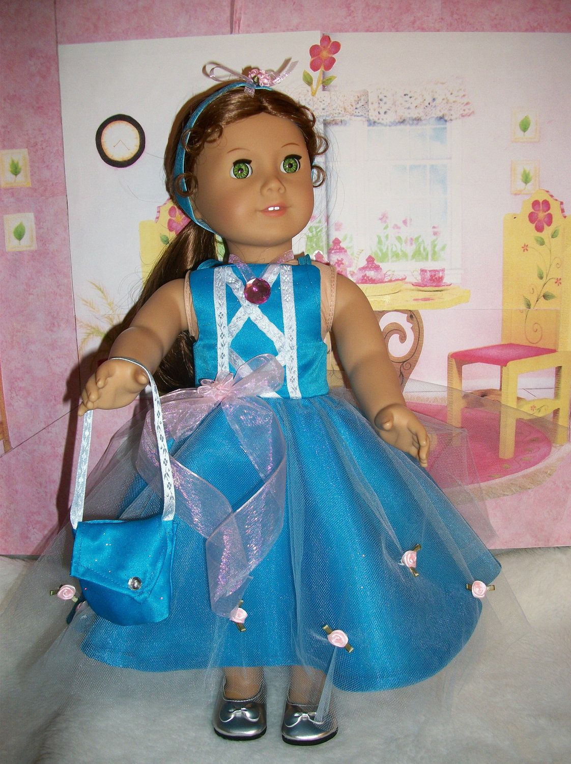 American girl doll clothes, Handmade party dress, purse, necklace ...