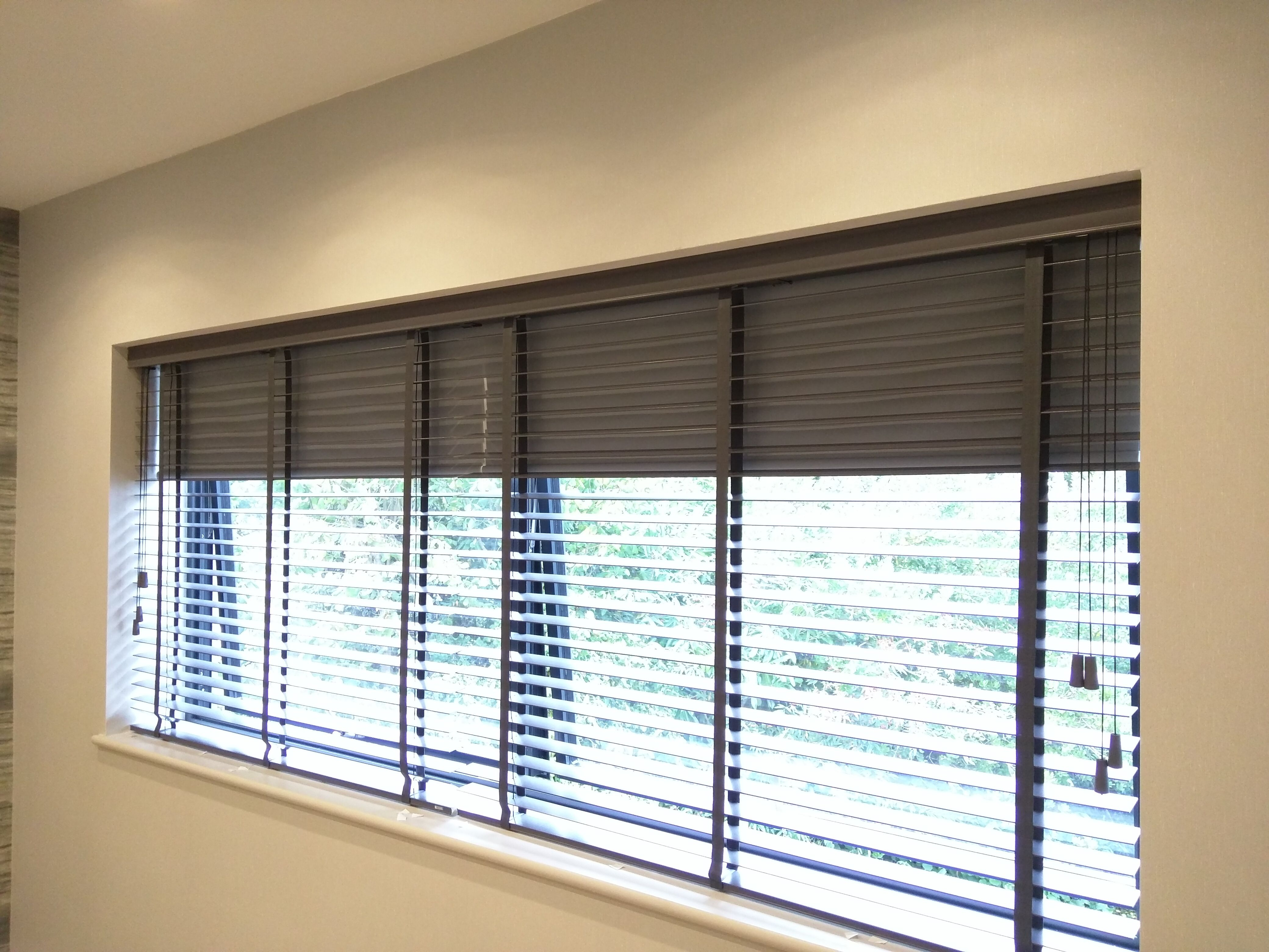 Wood Venetian Blind With Blackout Roller Blind Behind Fitted To