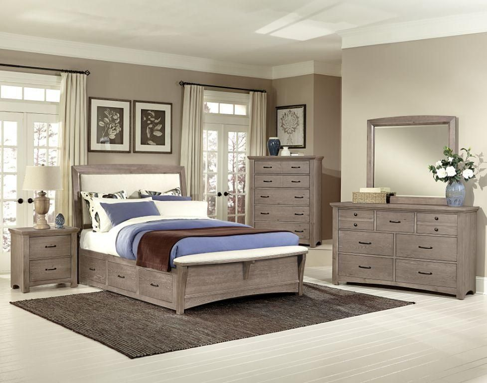 Driftwood collection upholstered bed with storage King