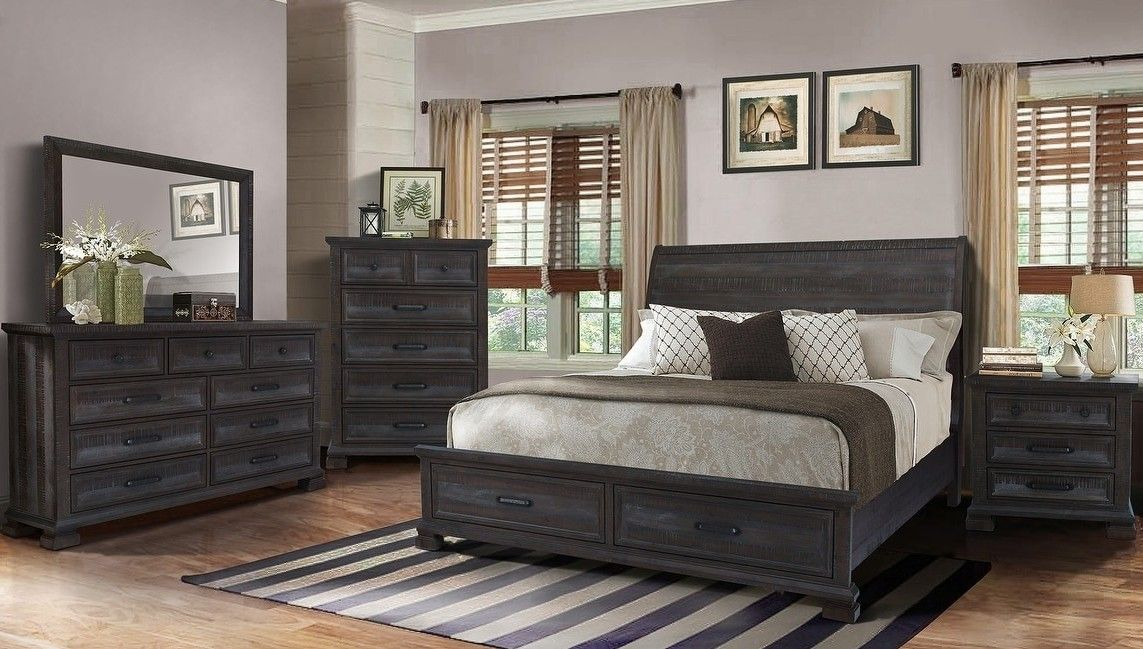 Best Master Kate 4 Pc Kate Dark Gray Rustic Finish Wood Queen Bed