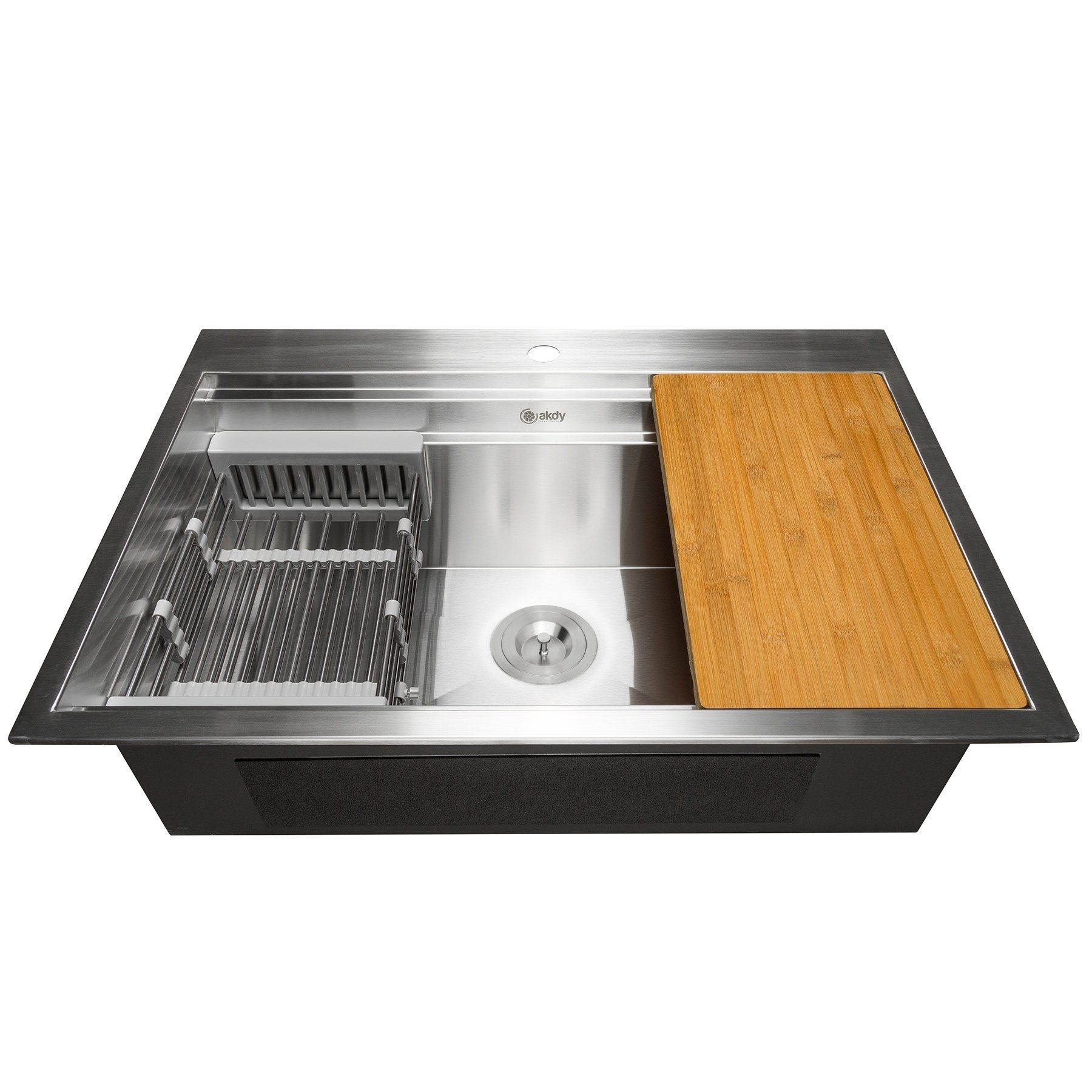 Akdy Ks0235 32 X 22 X 9 Top Mount Handmade Stainless Steel Single Bowl Kitchen Sink Silver Drop In Kitchen Sink Single Bowl Kitchen Sink Top Mount Kitchen Sink
