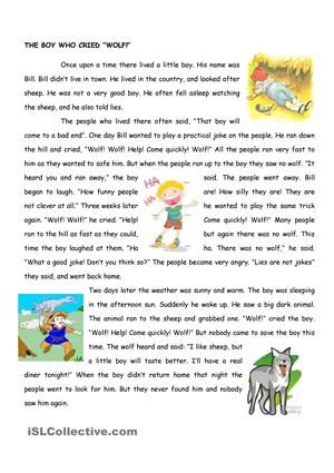 image relating to Printable Fables known as The boy who cried wolf worksheet - Absolutely free printable worksheet