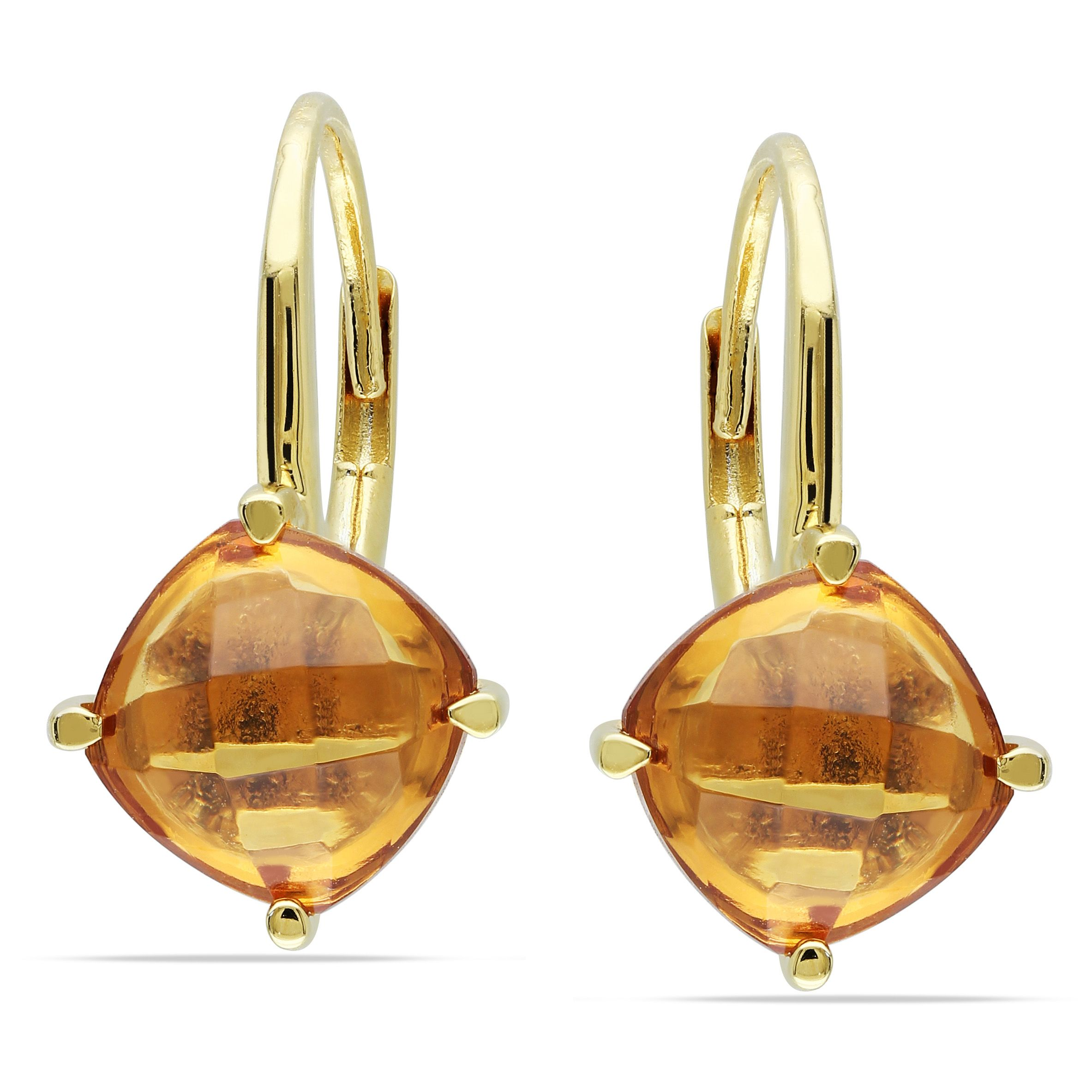 Miadora Yellow Plated Silver 4ct TGW Citrine Leverback Earrings, Women's