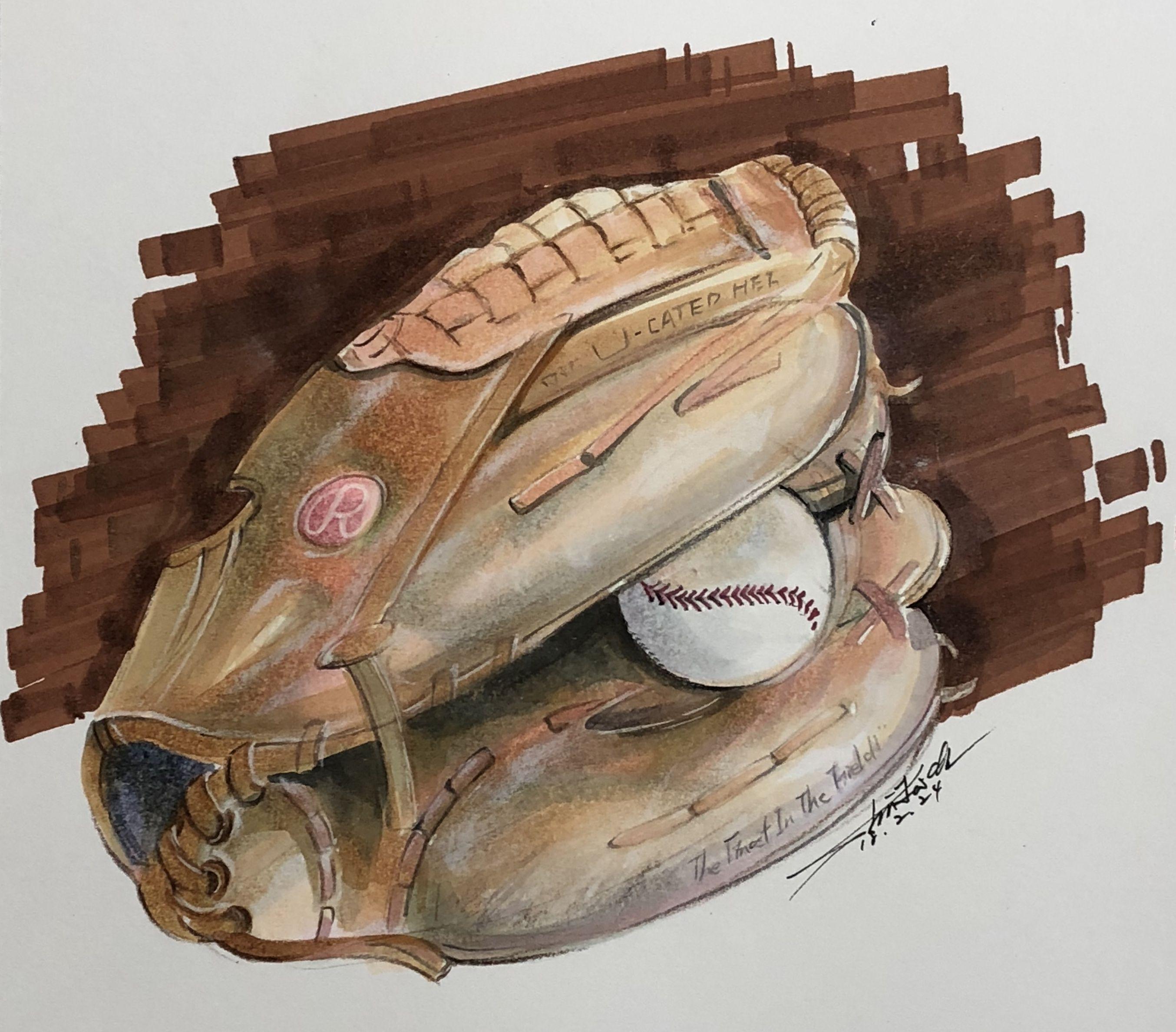 Baseball Glove Painting Gloves Drawing Drawings