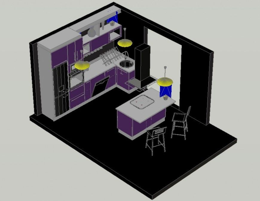 Kitchen Interior 3d Model With Appliances Units Autocad File Kitchen Interior Interior Cabinet Detailing