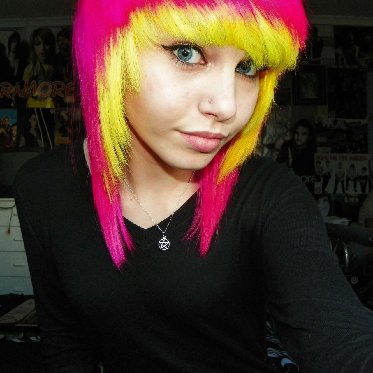 pink and yellow hair. This really pops! Her hair is beautiful and so is she! Wow!  ♥ I bet you wish you have hair like this - Enjoy with love from http://www.shop.embiotechsolutions.co.uk/AquaFresh-EM-Ceramics-Water-Butt-Treatment-250g-AquaFresh250.htm
