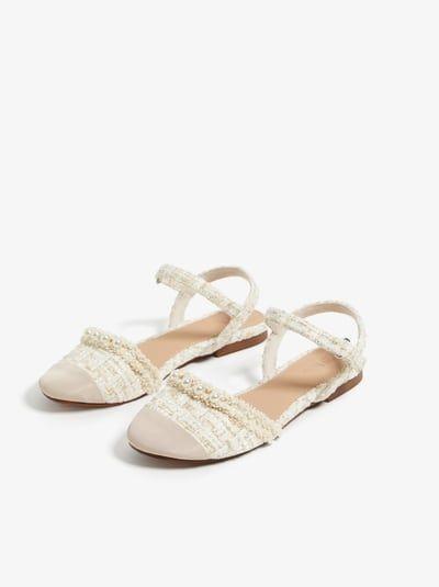 Flora Corsage T-Bar Almond Toe Ballet Pumps