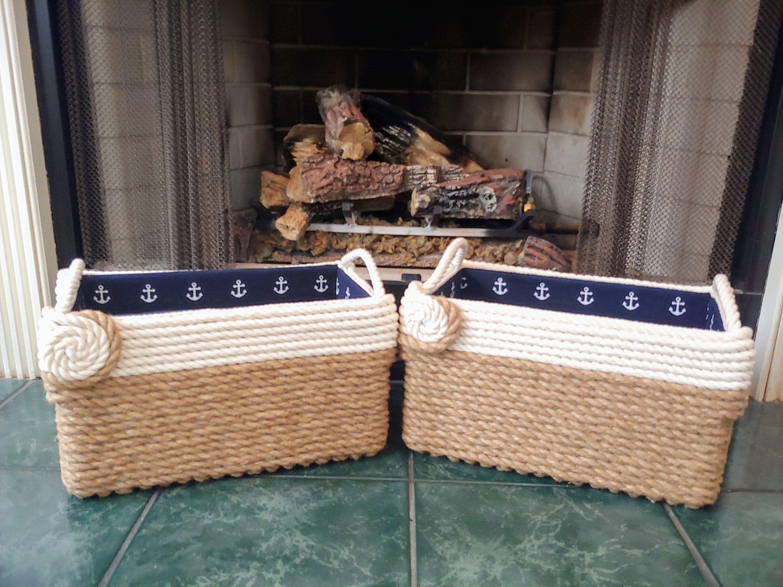 Jute Cotton Nautical Basket Multipurpose Basket Bathroom Storage