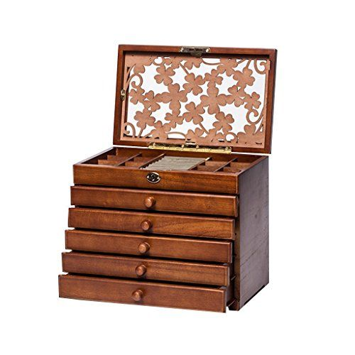 legoyo 7198B Clover Carved 6 Layer WoodenReal Wood Jewelry Box and