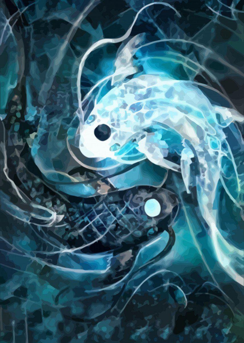 Ying Yang Fish Poster By Space Chimpa Displate Ying Yang Art Koi Art Ying Yang