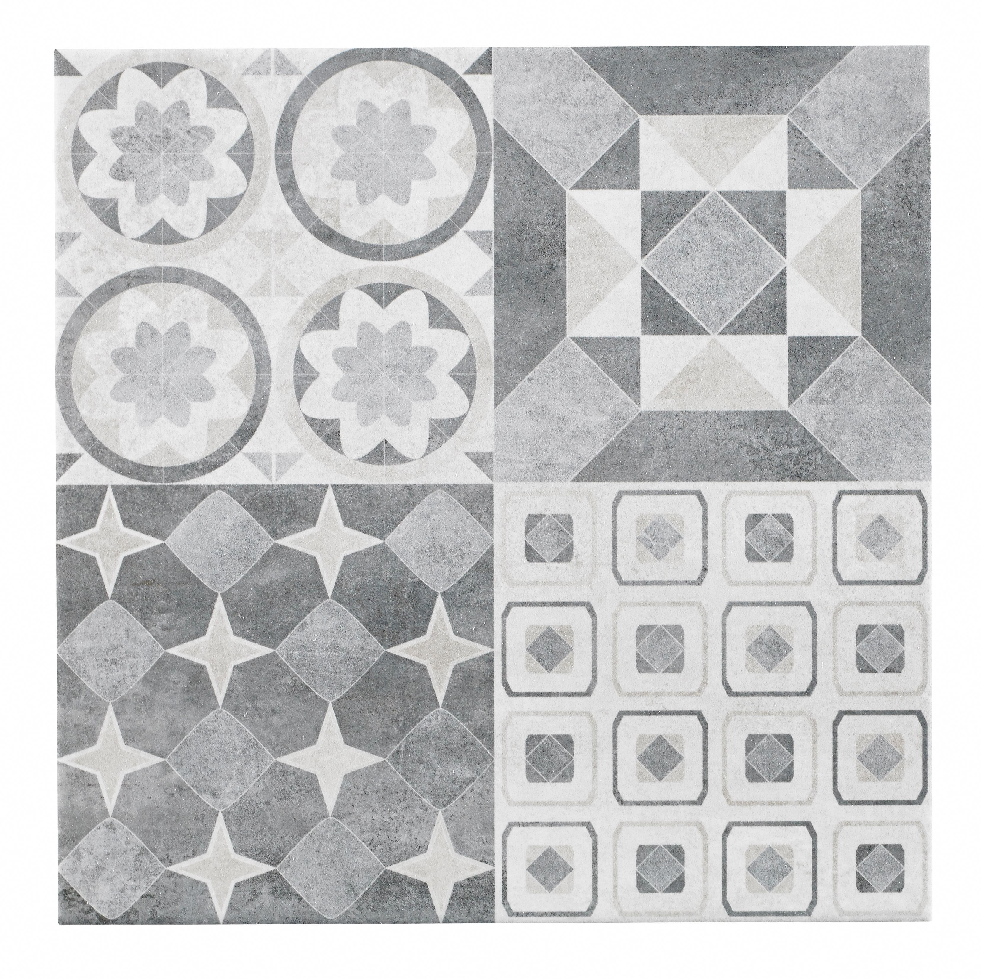 Lofthouse French Grey Patchwork Ceramic Wall Floor Tile Pack Of 9 L 331mm W 331mm Departments Diy At B Bathroom Floor Tiles Tile Floor Grey Flooring